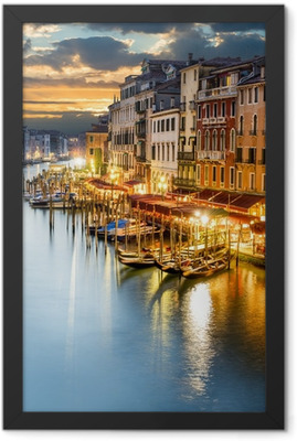 Grand Canal in Venice by night Framed Poster