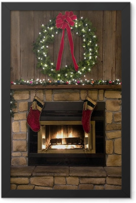 Christmas Fireplace Hearth with Wreath and Stockings Framed Poster