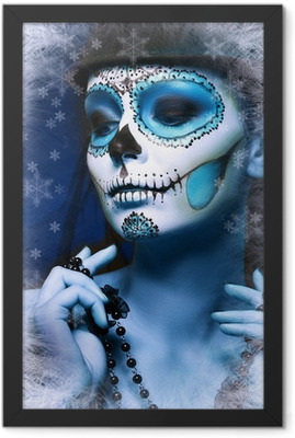 halloween make up sugar skull Framed Poster