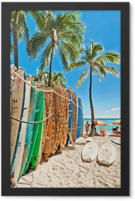Surfboards in the rack at Waikiki Beach Framed Poster