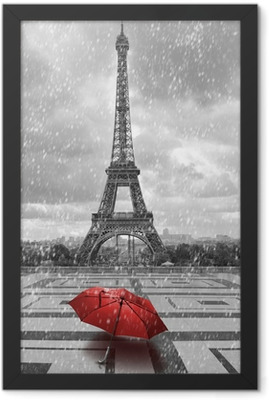 Eiffel tower in the rain. Black and white photo with red element Framed Poster