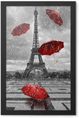 Eiffel tower with flying umbrellas. Framed Poster