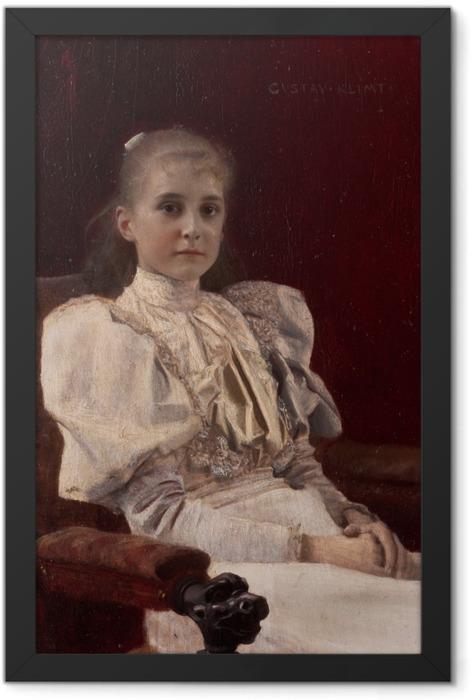 Gerahmtes Poster Gustav Klimt - Sitzendes junges Mädchen - Reproduktion
