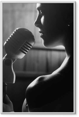 sensual woman with microphone Framed Poster
