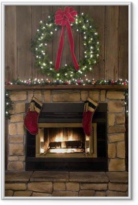 Christmas Fireplace Hearth with Wreath and Stockings Framed Picture