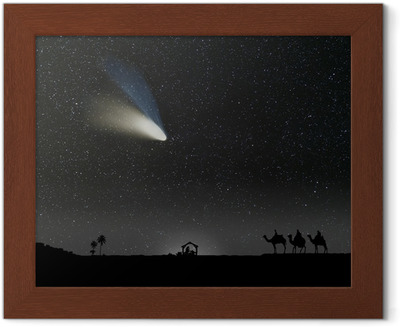Christmas Comet 2019.Nativity Scene With 3 Wise Men And The Christmas Comet