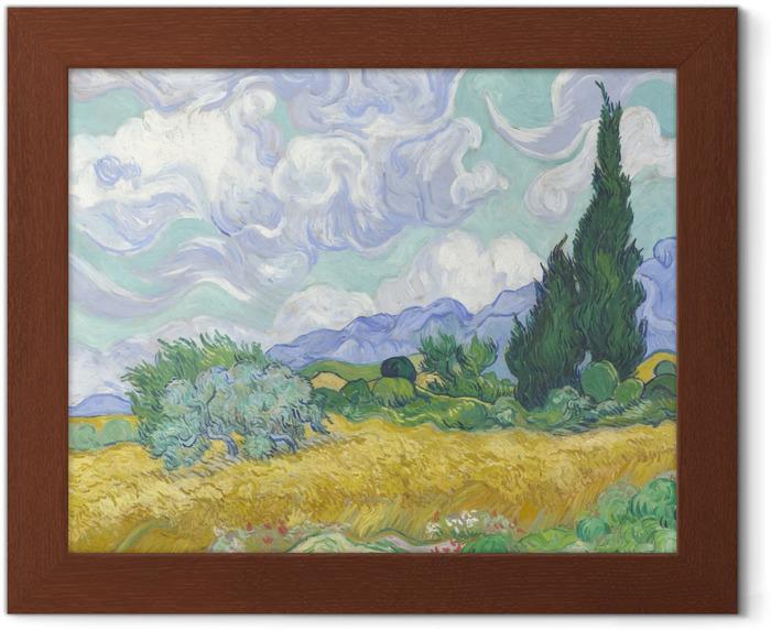 Plakat w ramie Vincent van Gogh - Zielone pole z cyprysem - Reproductions