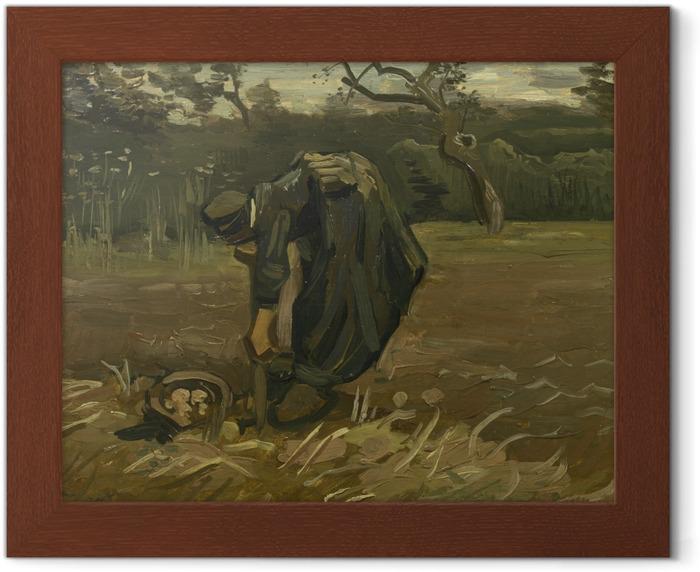 Plakat w ramie Vincent van Gogh - Wieśniaczka kopiąca ziemniaki - Reproductions