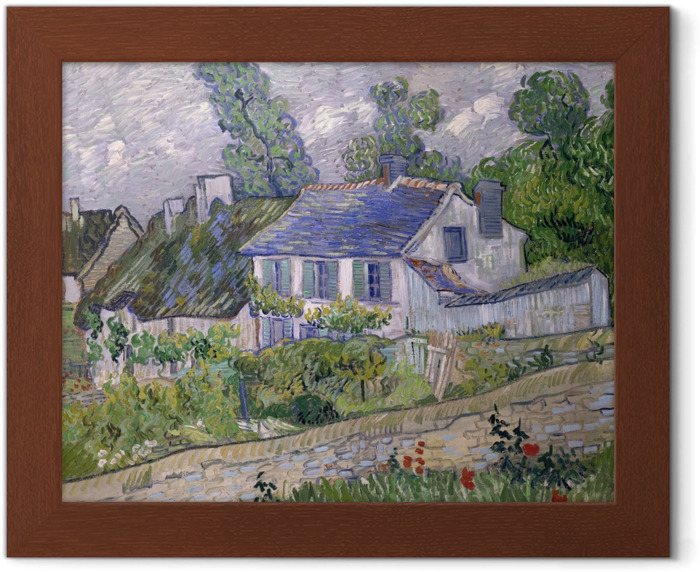 Póster Enmarcado Vincent van Gogh - Casas en Auvers - Reproductions