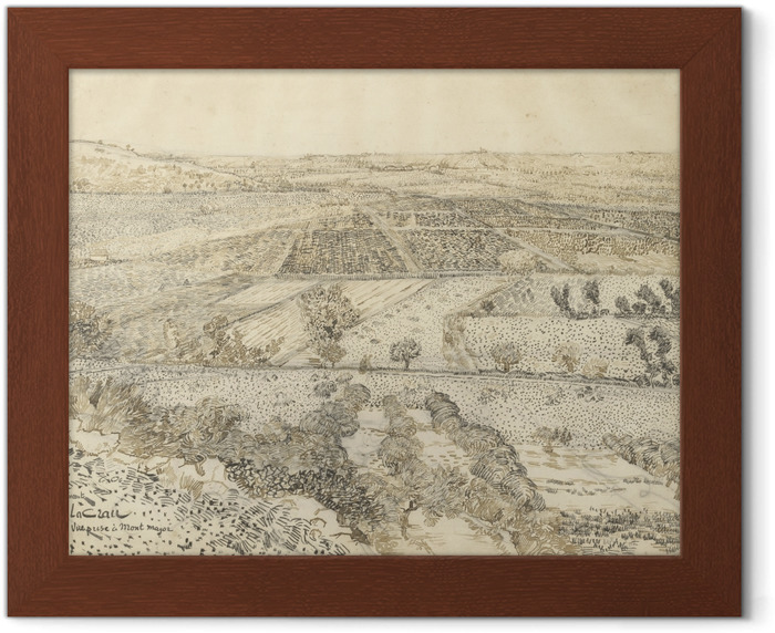 Vincent van Gogh - View of la Crau from Montmajour Framed Poster - Reproductions
