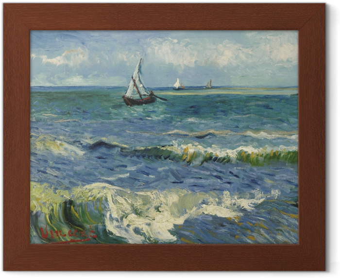Poster in Cornice Vincent van Gogh - Vista sul mare a Saintes-Maries - Reproductions