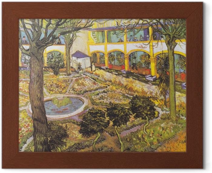 Gerahmtes Poster Vincent van Gogh - Der Garten im Hospital in Arles - Reproductions