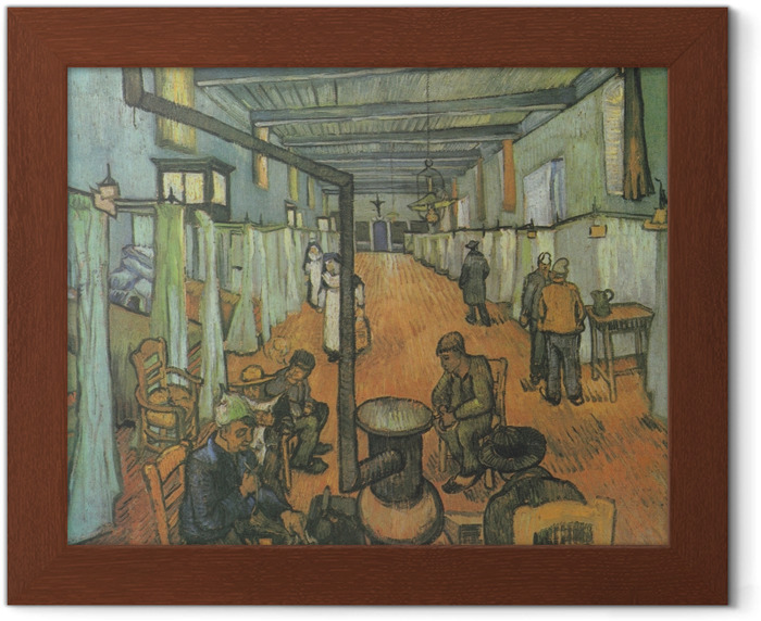 Vincent van Gogh - Dormitory at the Hospital in Arles Framed Poster - Reproductions