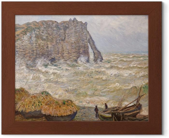 Plakat w ramie Claude Monet - Wzburzone morze niedaleko Étretat - Reprodukcje