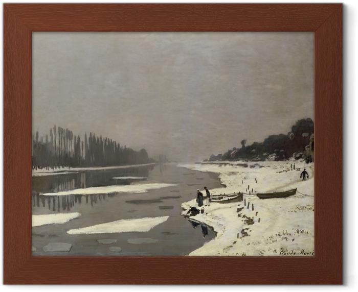 Póster Enmarcado Claude Monet - De hielo en el Sena en Bougival - Reproducciones
