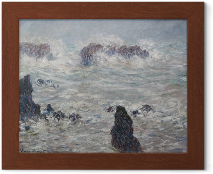 Claude Monet - Storm at the Coast of Belle-Ile Framed Poster - Reproductions