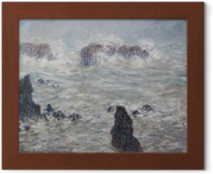 Gerahmtes Poster Claude Monet - Sturm an der Küste von Belle-Île - Reproduktion