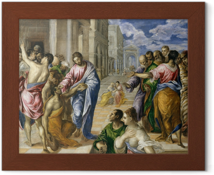 El Greco - Christ Healing the Blind Framed Poster - Reproductions
