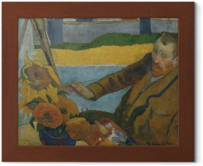 Paul Gauguin - Van Gogh painting 'Sunflowers' Framed Poster - Reproductions