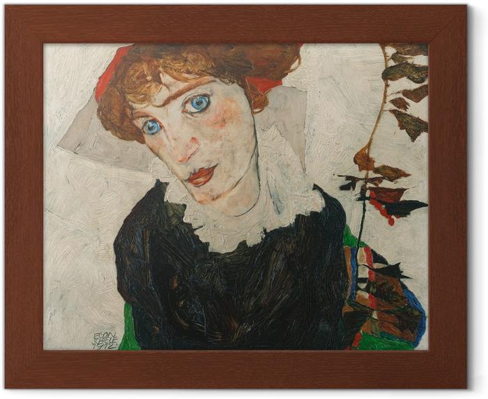Egon Schiele - Portrait of Gerti Schiele Framed Poster - Reproductions