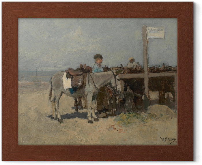 Anton Mauve - Donkey Stand on the Beach at Scheveningen Framed Poster - Reproductions