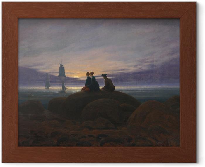 Póster Enmarcado Caspar David Friedrich - Salida de la luna sobre el mar II - Reproductions