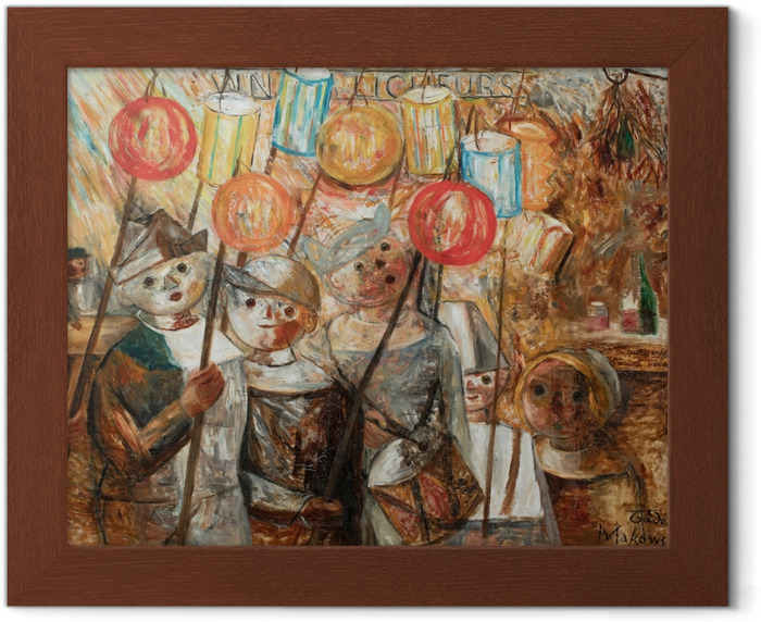 Plakat w ramie Tadeusz Makowski - Dzieci z pochodniami - Reproductions