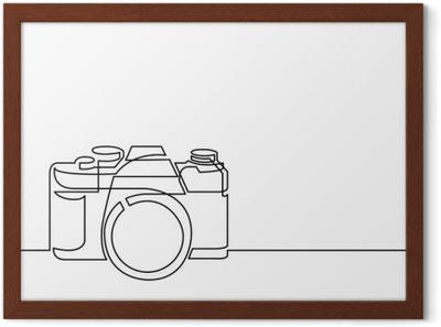 Fototapet Kontinuerlig linje tegning av retro fotokamera