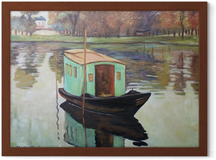 Claude Monet - The Studio Boat Framed Poster - Reproductions