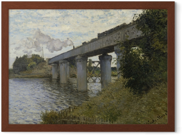 Claude Monet - The Railway Bridge at Argenteuil Framed Poster - Reproductions