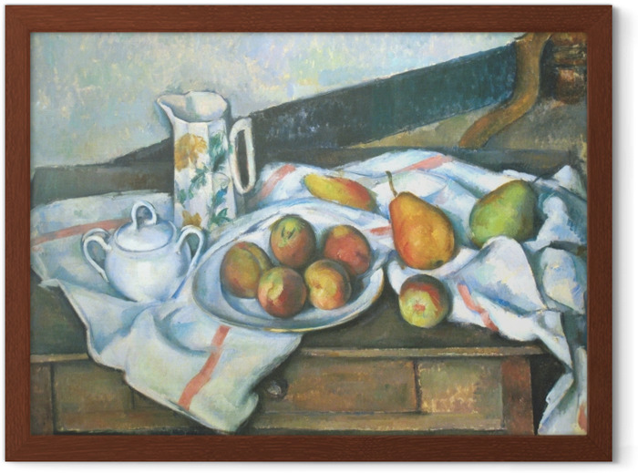Paul Cézanne - Asetelma persikat ja päärynät Kehystetty juliste -