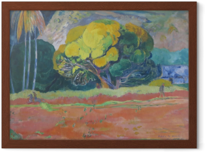 Paul Gauguin - Fatata te moua (At the Food of the Mountain) Framed Poster - Reproductions