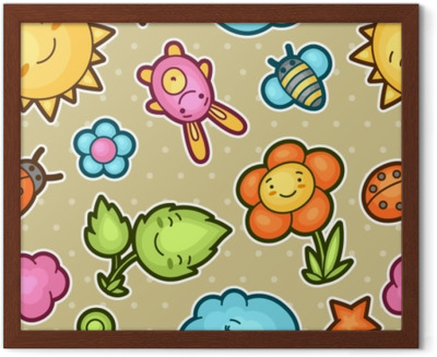 Seamless Kawaii Child Pattern With Cute Doodles Spring Collection Of Cheerful Cartoon Characters Sun Cloud Flower Leaf Beetles And Decorative
