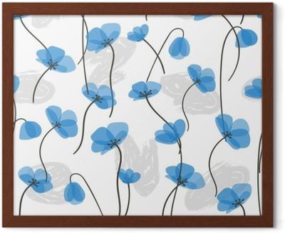 Poster Delicadas Flores Azules De Patrones Sin Fisuras Vector De