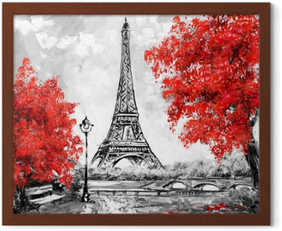 Oil Painting Paris European City Landscape France Wallpaper Eiffel Tower Black White And Red Modern Art Blackout Window Curtain Pixers We Live To Change