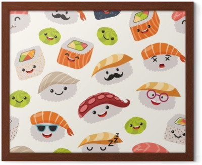 Sushi Emoji Seamless Pattern Cartoon Style Emoticon Kawaii Character Hand Draw Cute Japanese Food Objects Wallpaper With Facial Food Icon