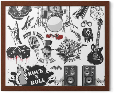 3241a1a56 set of vector symbols related to rock and roll Canvas Print • Pixers® - We  live to change