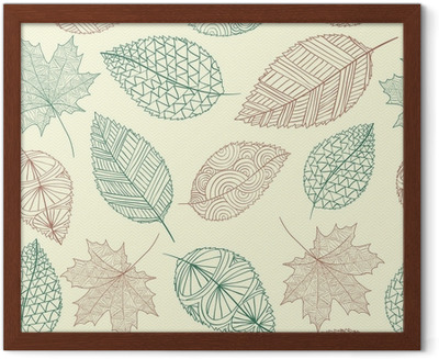 Vintage drawing fall leaves seamless pattern background. EPS10 f ...