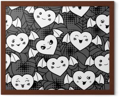 Seamless Halloween Kawaii Cartoon Pattern With Cute Hearts