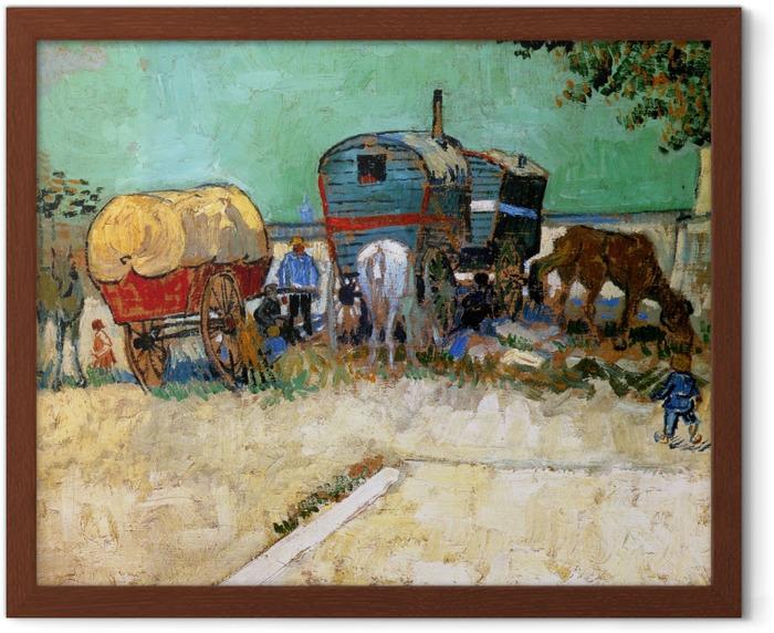 Poster en cadre Vincent van Gogh - Les roulottes, campement de bohémiens - Reproductions