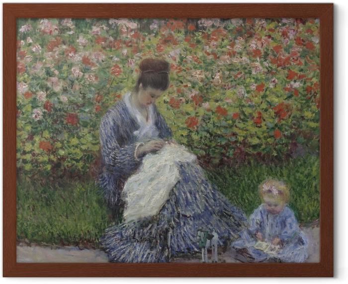 Poster en cadre Claude Monet - Camille Monet et un enfant au jardin - Reproductions
