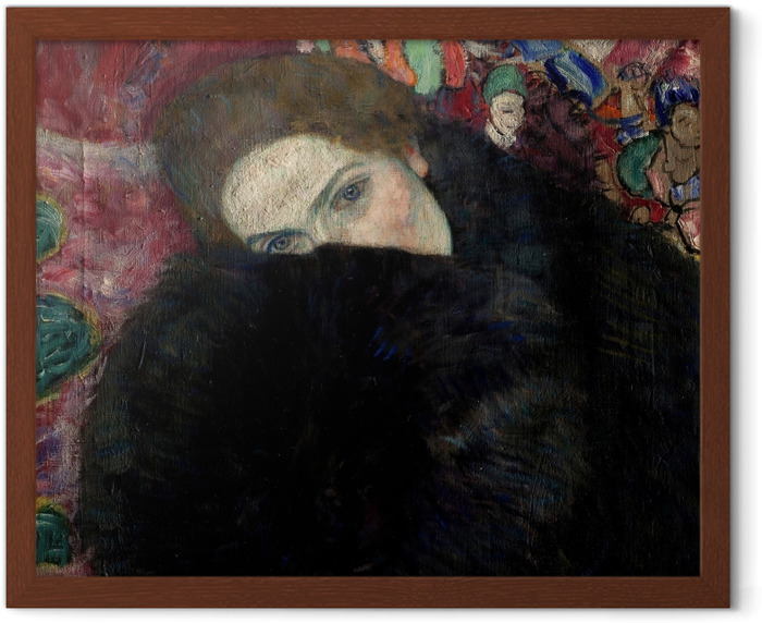 Gustav Klimt - Lady with Hat and Feather Boa Framed Picture - Reproductions