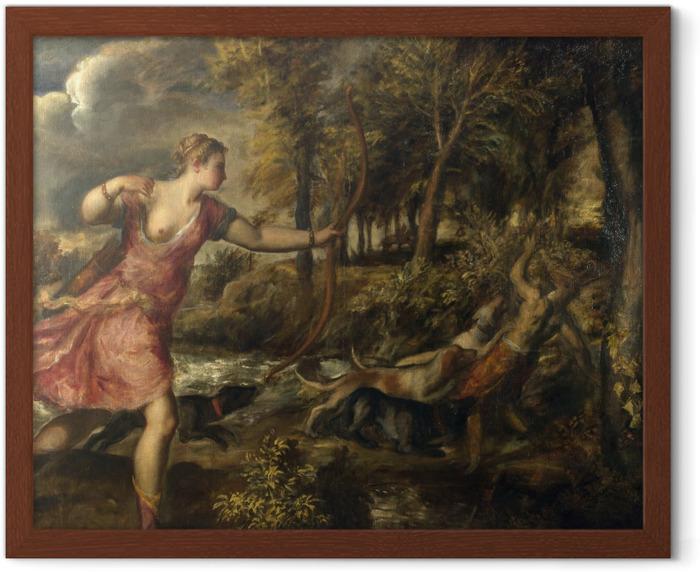 Plakat w ramie Tycjan - Śmierć Akteona - Reprodukcje