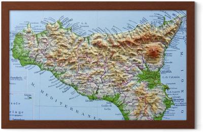Stampa Cartina Sicilia.Poster Carta Geografica Della Sicilia Pixers Viviamo Per Il Cambiamento