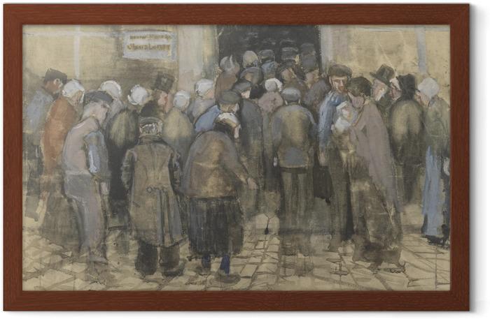 Poster en cadre Vincent van Gogh - faire la queue pour l'argent mal - Reproductions