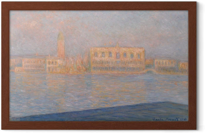 Poster i Ram Claude Monet - Vy över Dogepalatset från San Giorgio Maggiore - Reproduktioner
