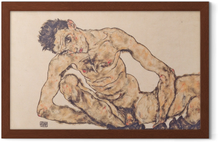 Plakát v rámu Egon Schiele - Nude Autoportrét - Reprodukce