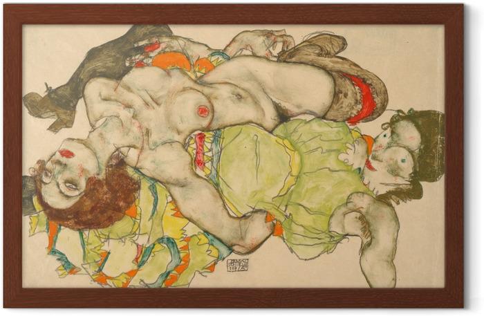 Poster en cadre Egon Schiele - Couple de femmes amoureuses - Reproductions