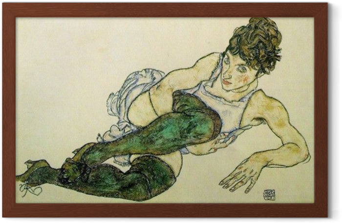 Egon Schiele - Reclining Woman with Green Stockings Framed Poster - Reproductions