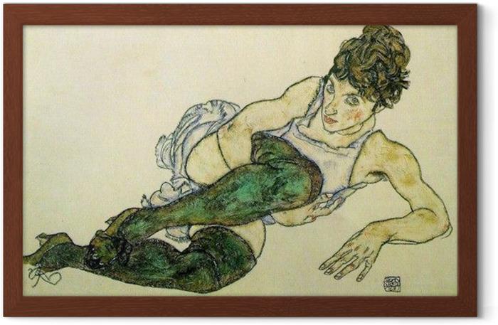 Plakat w ramie Egon Schiele - Pochylająca się kobieta w zielonych pończochach - Reprodukcje